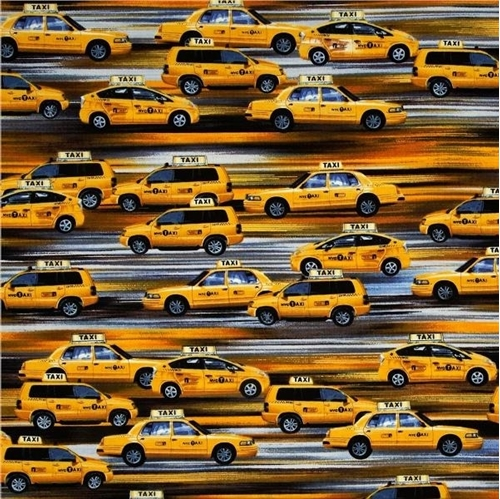 New York State of Mind NYC Speeding Taxi Cabs Cotton Fabric