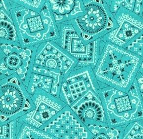 Picture of Bandana Classics White and Black Squares on Aqua Cotton Fabric