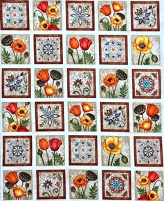 Picture of In Bloom Floral Tiles Poppy Flowers Lotus Pods 24x22 Cotton Fabric