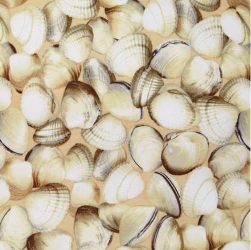 Maine Attractions Oh Shucks Clam Shells Scallop Shell Cotton Fabric