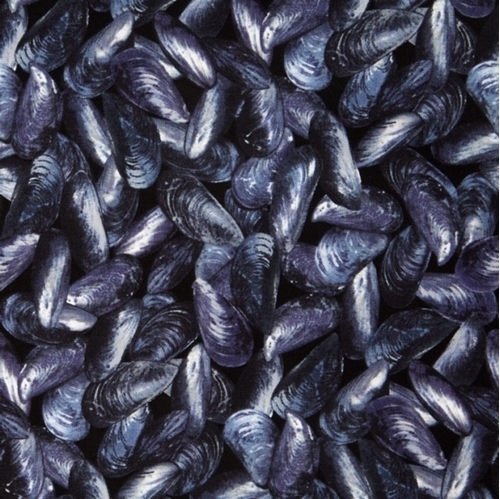 Maine Attractions Mussel Beach Shells Seafood Indigo Cotton Fabric