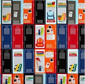 Head of the Class Colorful School Lockers Hall Locker Cotton Fabric