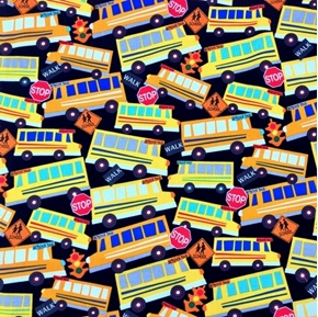 Picture of Head of the Class Bus Stop School Buses Traffic Lights Cotton Fabric