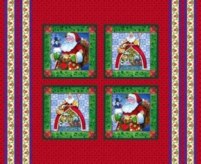 Picture of Jim Shore Christmas Santa Holiday Cotton Fabric Pillow Panel Set