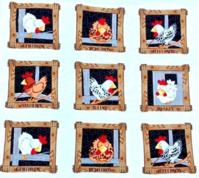 Fowl Play It's A Coop Chickens in Coops Chicken Blocks Cotton Fabric