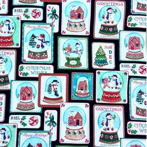 Picture of Happy Holidays Snowman Snow Globe Blocks Christmas Cotton Fabric
