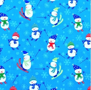 Snow Days Snowmen Skiing Snowman on Skis Blue Cotton Fabric