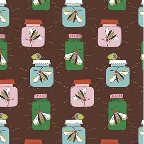 Picture of Mouse Camp Insects in Jars Lightning Bugs Brown Cotton Fabric