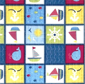 Ships Ahoy Patch Sailboat Whale Fish and Anchor Blocks Cotton Fabric