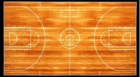 "Picture of Sports Life Basketball Court 24x44"" Large Cotton Fabric Panel"