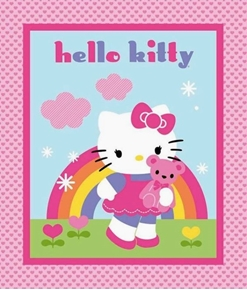 Picture of Hello Kitty and Teddy Quilt Top Rainbow Large Cotton Fabric Panel