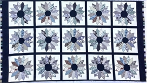 Tick Tack Piece Work Black Quilt Pattern 24x44 Cotton Fabric Panel
