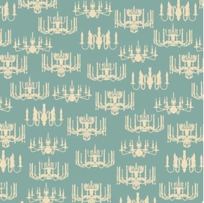 Victorian Vintage Chandeliers on Blue Teal Cotton Fabric