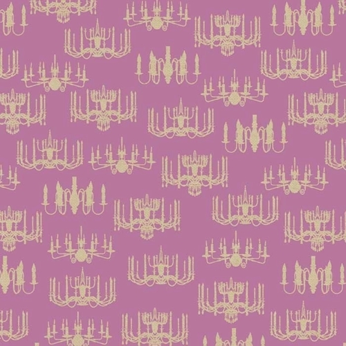 Victorian Vintage Chandeliers on Pink Rose Cotton Fabric