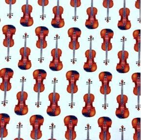 In Tune Metallic Gold Thread Violins Music Violin Ivory Cotton Fabric