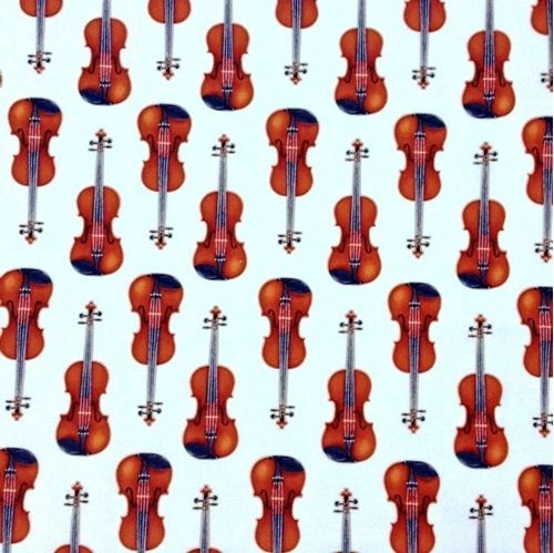 In Tune Metallic Gold Thread Violins Music Violin Ivory Cotton Fabric