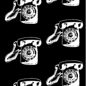 Vintage Scrapbook Call Me Black Rotary Telephone Retro Cotton Fabric