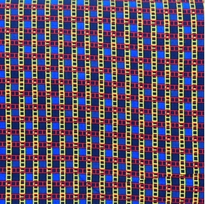 Ladder Plaid Yellow and Red Ladders on Blue Cotton Fabric