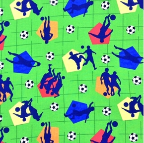 Soccer Game Players and Balls on Bright Green Cotton Fabric