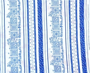 Picture of Quilters Garden Quilts Hanging in Garden Blue Stripe Cotton Fabric