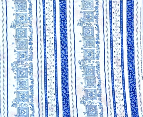 Charmant Quilters Garden Quilts Hanging In Garden Blue Stripe Cotton Fabric