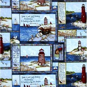Picture of Country Lighthouses Lighthouse Squares Poetry Quotes Cotton Fabric