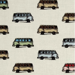 Vintage Scrapbook Mini Vans VW Bus Volkswagen Van Tan Cotton Fabric