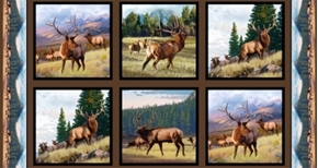 North American Wildlife Elk in the Wild 24x44 Cotton Fabric Panel