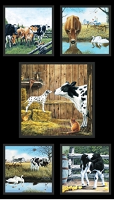 Picture of Farm Life Cows on the Farm Blocks 24x44 Cotton Fabric Panel