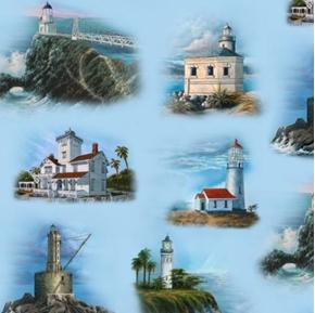 Picture of West Coast Lighthouses Lighthouse Scene Cotton Fabric