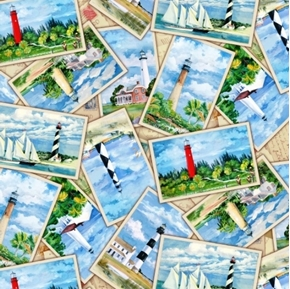 Picture of Lighthouses Lighthouse Photographs Postcards Cotton Fabric