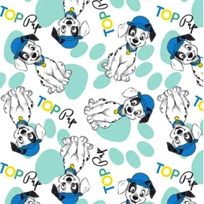 Picture of Disney Top Pup 101 Dalmatians Aqua and White Cotton Fabric