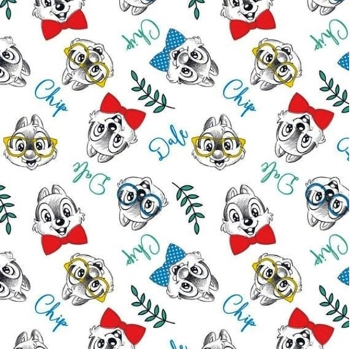 Disney Chip and Dale Chipmunk Cartoon Characters White Cotton Fabric