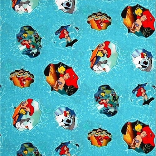 Disney Ariel Under the Sea Movie Posters Cotton Fabric