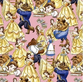 Disney Belle and the Beast Packed Beauty Pink Cotton Fabric