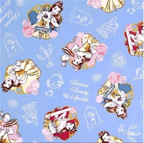 Disney Belle Brains, Beauty and Sparkle Periwinkle Blue Cotton Fabric