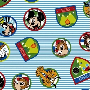 Picture of Disney Fun With Friends Goofy Pluto Chip Explore Patch Cotton Fabric