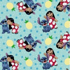 Picture of Disney Lilo and Stitch Ohana Means Family Hawaiian Aqua Cotton Fabric
