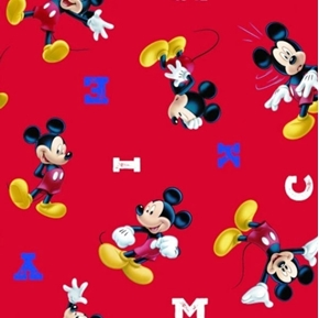 Disney Mickey Mouse M-I-C-K-E-Y Red Cotton Fabric