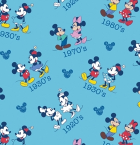 Disney Mickey Minnie Toss Through the Ages Blue Cotton Fabric