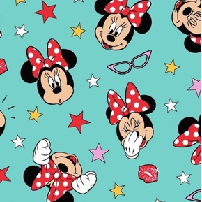 Disney Minnie Mouse Being Silly Aqua Cotton Fabric