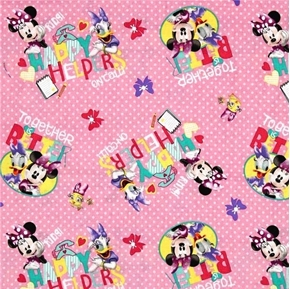 Disney Happy Helpers on Call Minnie and Daisy Pink Cotton Fabric