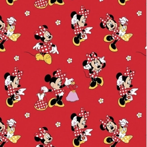 Picture of Disney Minnie Mouse Loves Dresses Red Cotton Fabric