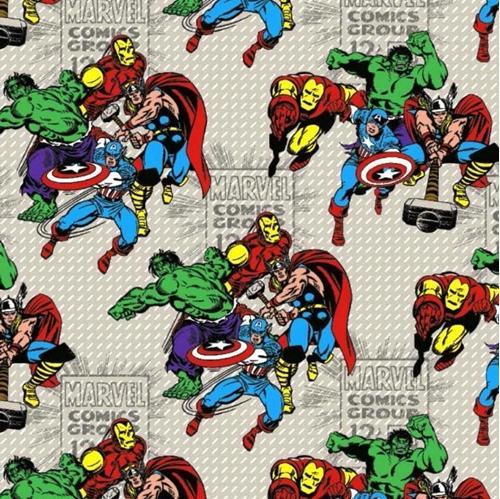 Marvel Comics Group Superhero Action Scenes on Grey Cotton Fabric