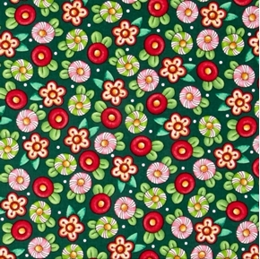 Trimming the Tree Mary Engelbreit Candy Flowers Green Cotton Fabric