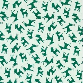 Rudolph and Friends Green Reindeer Silhouette Cotton Fabric