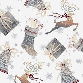 Picture of Holiday Elegance Bells, Stockings and Gifts on White Cotton Fabric