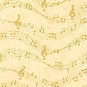 Sounds of the Season Gold Musical Notes on Gold Cotton Fabric