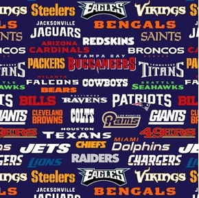 NFL Football All Team Names on Navy Blue 18x29 Cotton Fabric