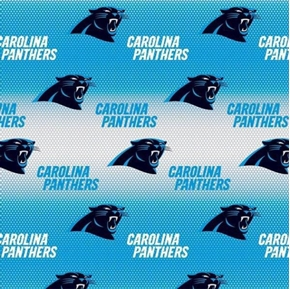 NFL Football Carolina Panthers Blue Ombre Dots 18x29 Cotton Fabric